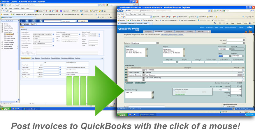 Send invoices from TrackerSuite.Net to QuickBooks